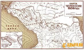 Карта времен Кавказской войны